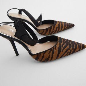 ZARA Leather Slingback Animal Print Heels